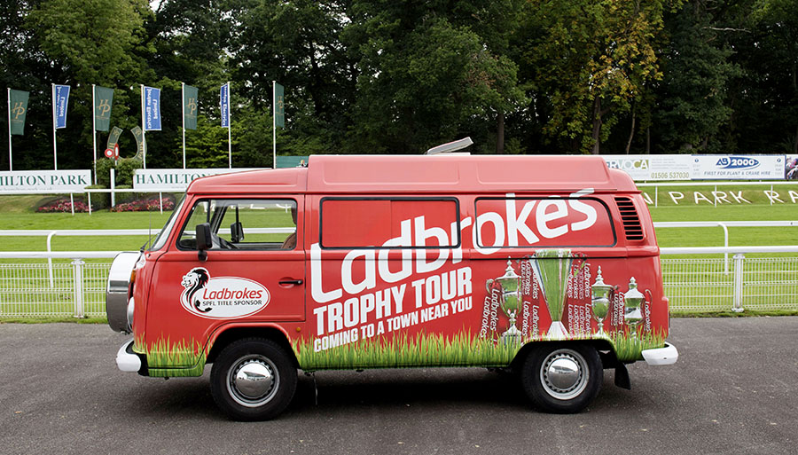 25/08/16 HAMILTON RACECOURSE - HAMILTON The Ladbrokes Trophy tour van sits in wait ahead of tomorrow's Mascot Race