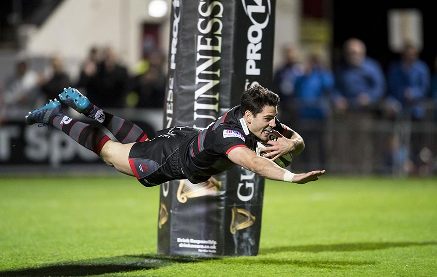 Edinburgh's Sam Hidalgo-Clyne is captured suspended in mid air as he scores the second try for his side