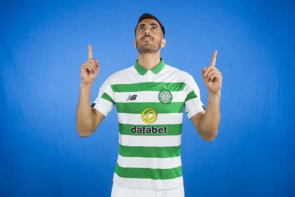 Celtic Player pointing up to the ceiling