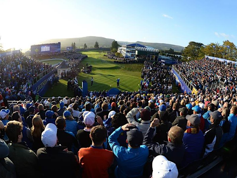 Scotland's Stephen Gallacher takes his first shot as a Ryder Cup player