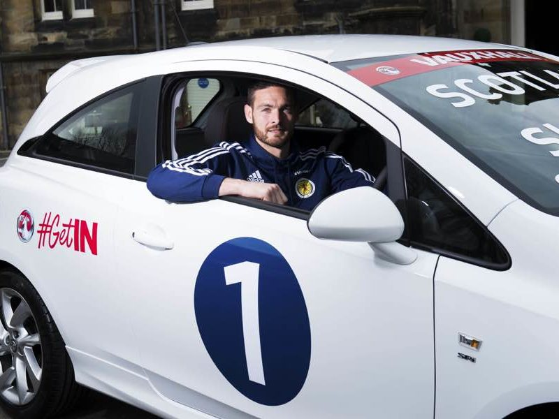 Scotland number one Craig Gordon, is pictured with the Vauxhall Corsa, Bishopton