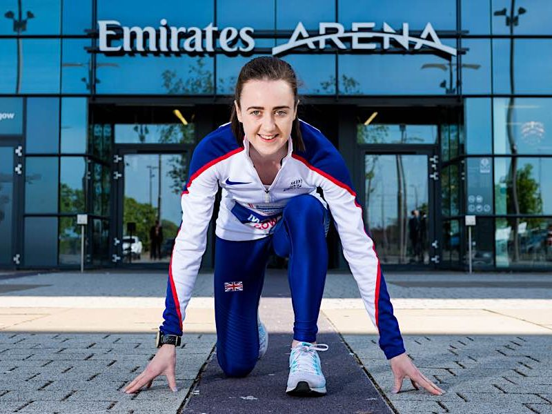 Laura Muir outside the Emirates Arena, Glasgow