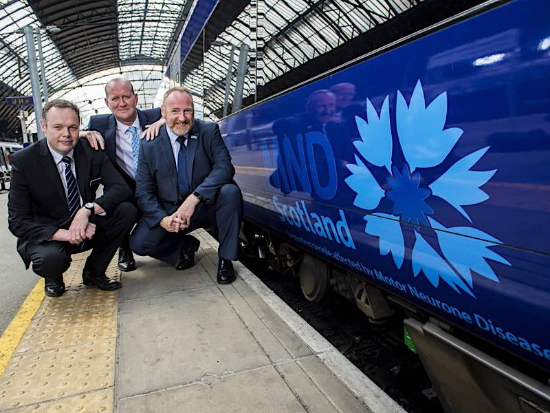 Angus Thom (Scotrail Alliance Chief Operating Officer) Iain McWhirter (MND Head of Fundraising and Volunteering) and Craig W F Stockton (MND Chief Executive)