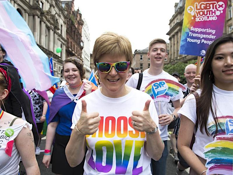 First Minister Nicola Sturgeon at the 2018 Pride Parade.