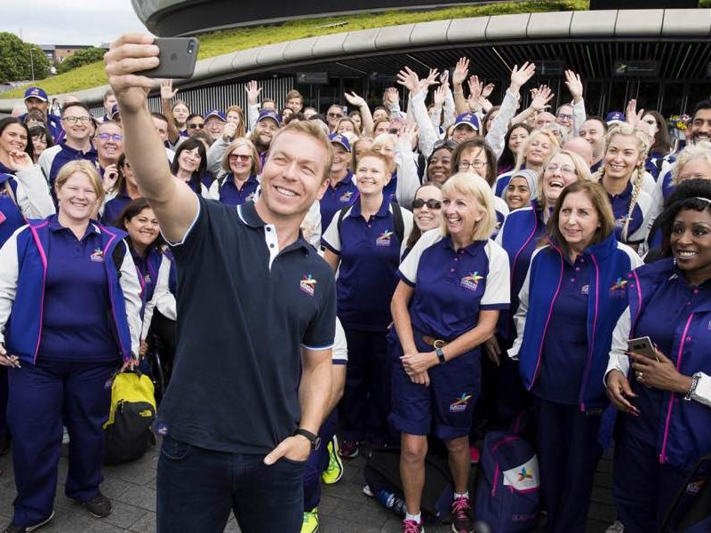 Sir Chris Hoy takes a selfie with Glasgow 2018 Volunteers at the SSE Hydro ahead of the European Championships.