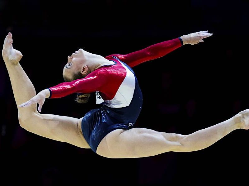 Artistic gymnast Kristina Brabkova mid routine