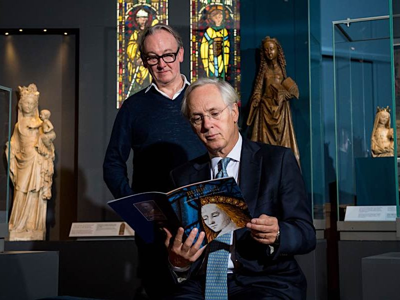 James Robinson (Burrell Renaissance) (L) and Sir Paul Ruddock (curator) at The Burrell at Kelvingrove