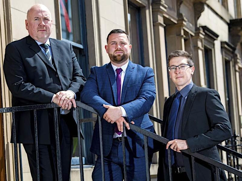 Promoted staff, Graeme Wright, Joe McKeeman and Gavin in Glasgow