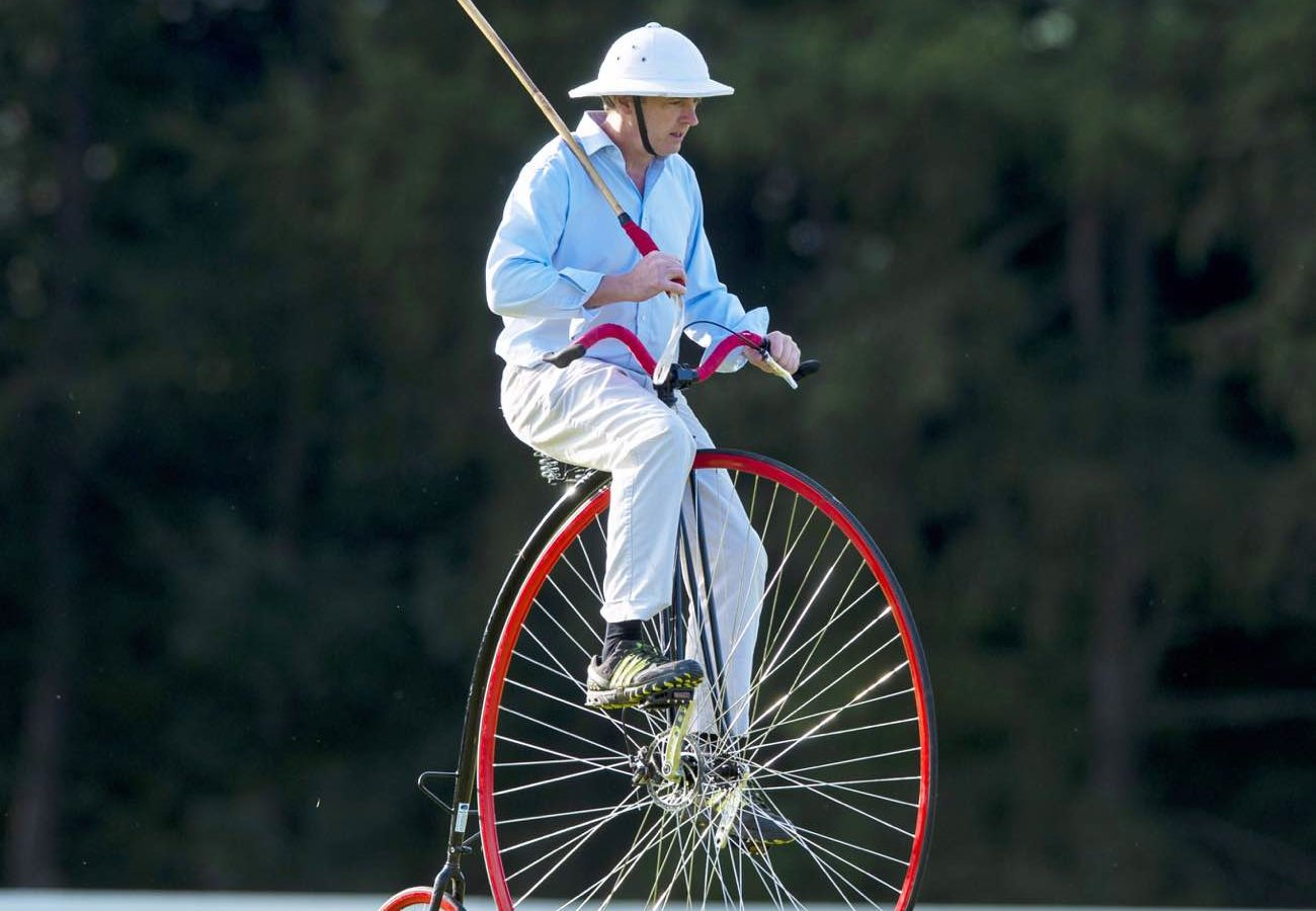 Man riding a Penny-farthing at the Randox annual polo weekend at The Gleneagles Hotel