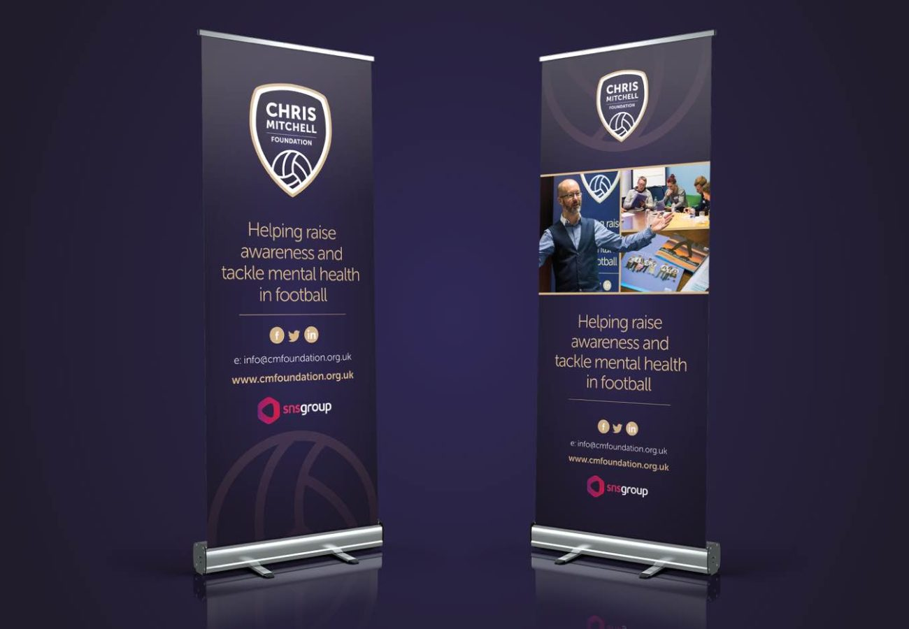 Banners design mockup for the Chris Mitchell Foundation