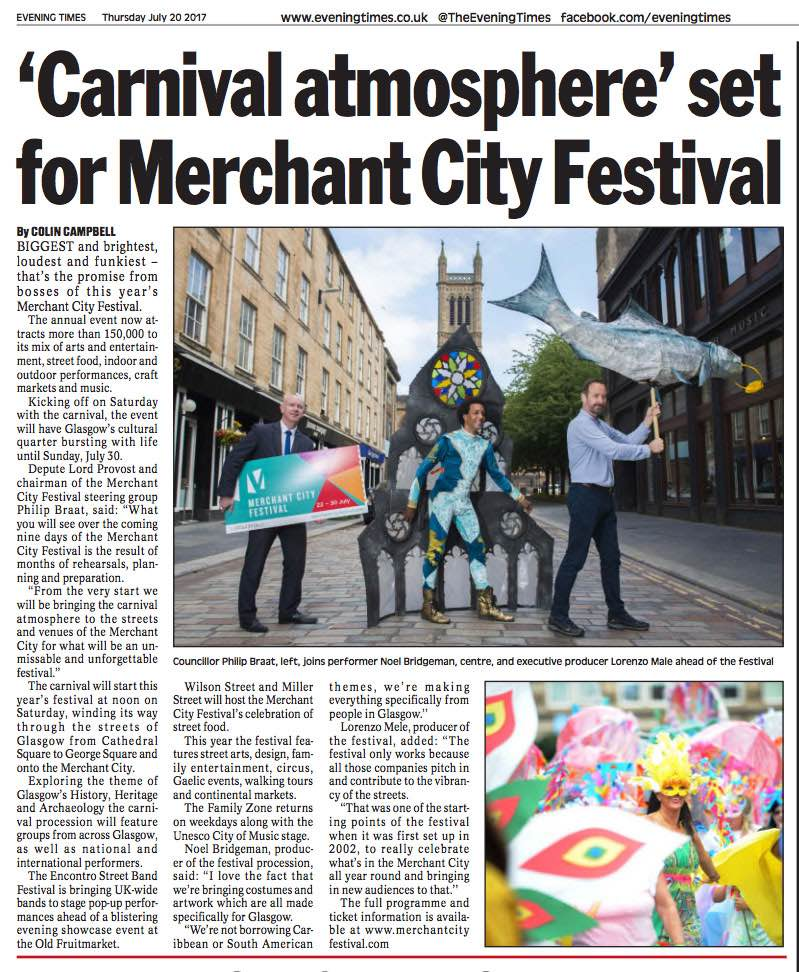 News article from Evening Times on Merchant City Festival