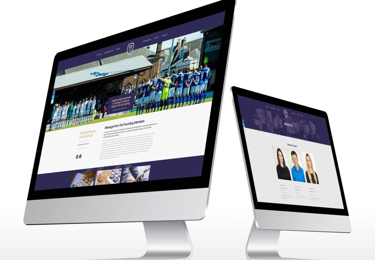 Website design mockups for the Chris Mitchell Foundation
