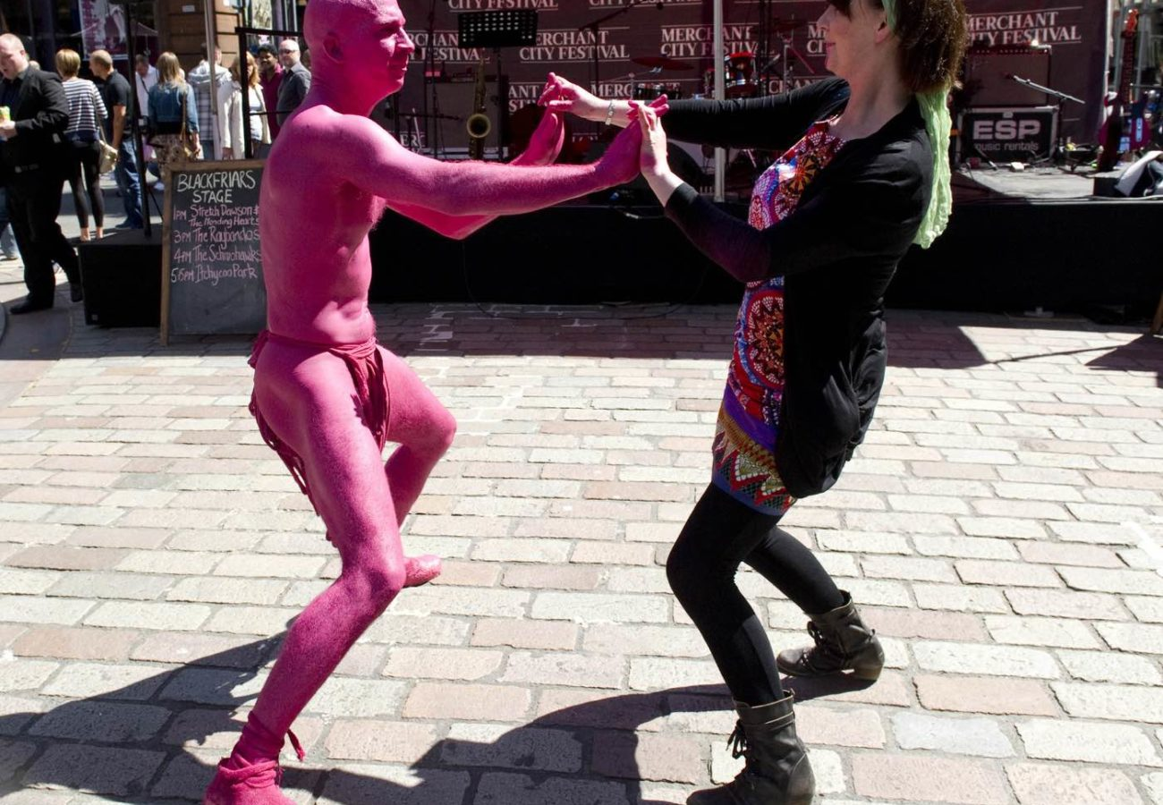 A pink aliena from 'The Invasion' with Gaynor Milne during the Merchant City Festival