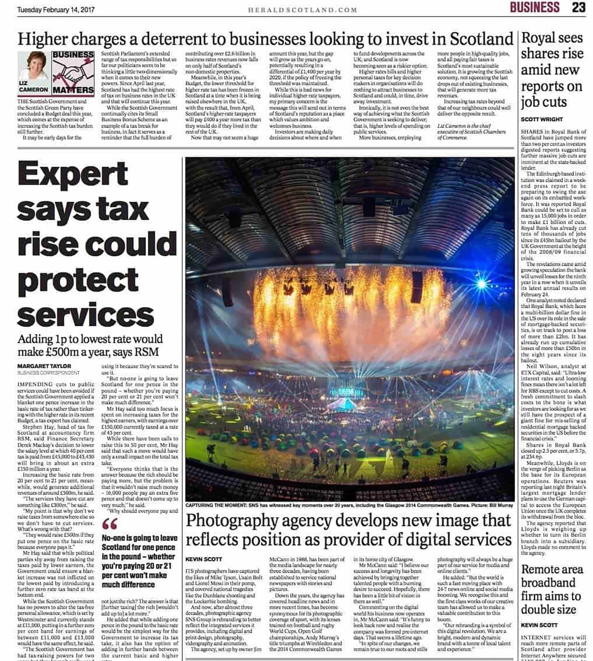 page from the herald scotland featuring an article about sns group