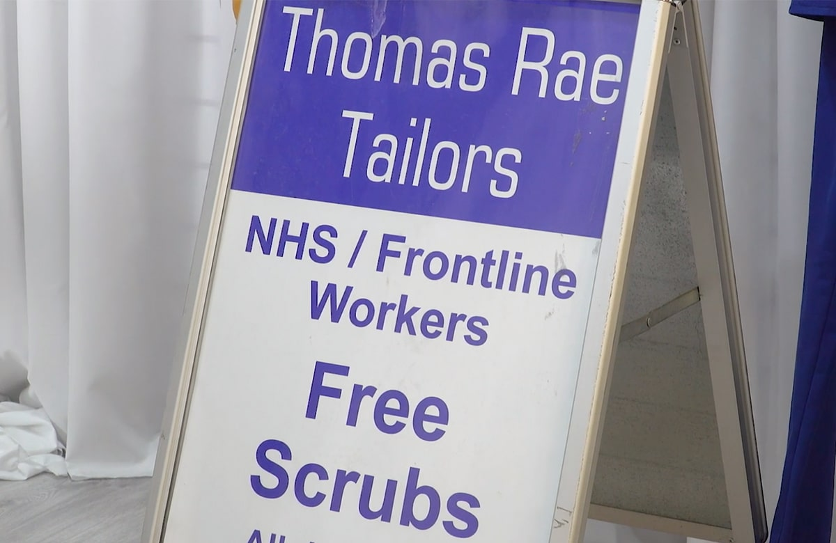 A Glasgow tailor is lending a helping hand in the fight against coronavirus by creating scrubs for the NHS.