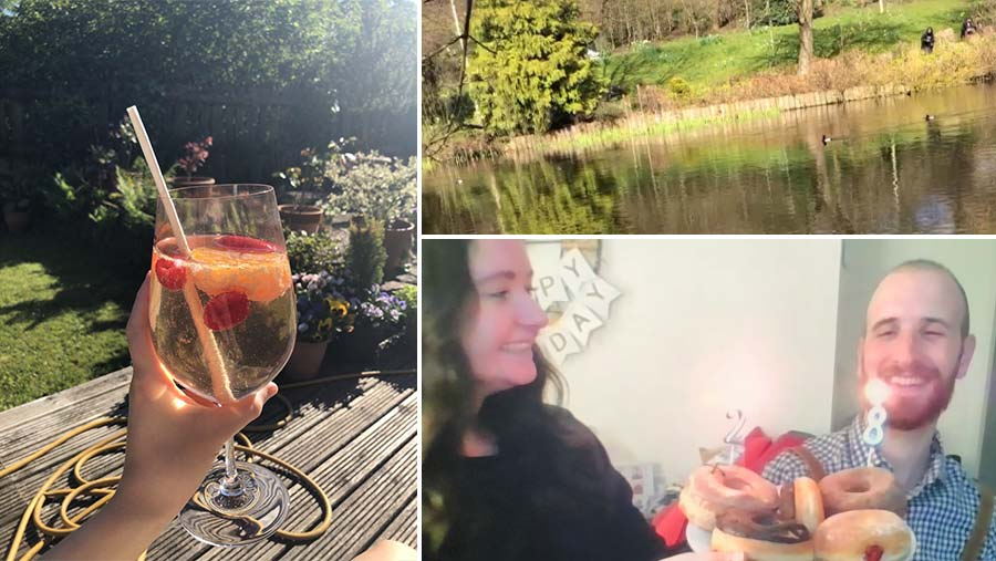 Claire enjoying a cocktail, views from a walk in the park and screenshot from brother's birthday video call